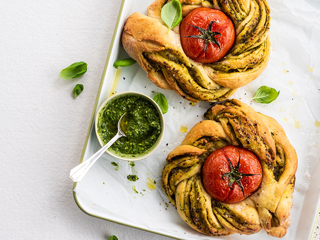 Braided Flatbread with roasted tomatoes