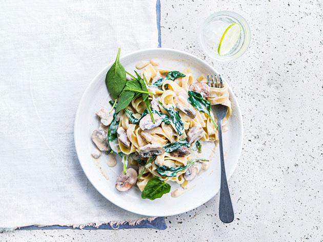 Mushroom and Spinach Tagliatelle